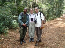 Moses, Gini and Marc at end of chimpanzee trek, Kibale Forest NP