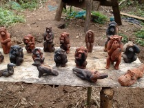 Figurines made by village boys from clay from termite mounds, Bigodi Wetlands Sanctuary