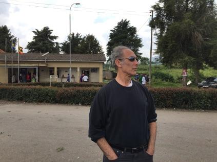 Marc at border crossing, Rwanda into Uganda