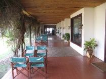 Patio walkway overlooking Kazinga Channel, Mweya Safari Lodge, Queen Elizabeth NP