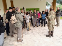 Marc and other trekkers being welcomed to new park headquarters, a short walk from our lodge, Bwindi Impenetrable National Park