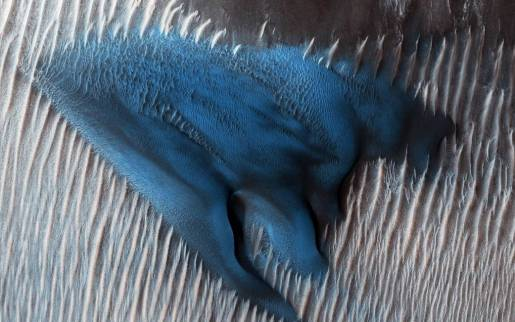 Barchan dunes, Lyot Crater, Mars, January 24, 2018 / NASA MRO, JPL-Caltech, U. of Arizona / Click for more.