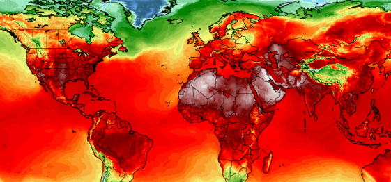 Simulated global temperatures, July 3, 2018 / U of Maine Climate Reanalyzer, The Washington Post / Click for more.