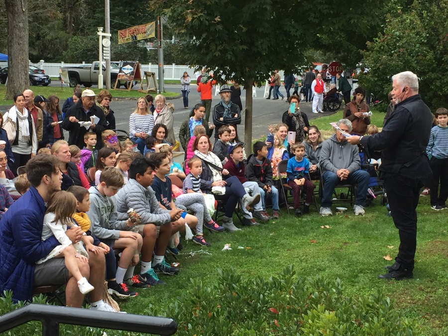Magic show outside Salisbury Congregational Church, Fall Festival, Salisbury CT, Saturday Oct. 6, 2018