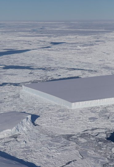 Rectangular iceberg off Larsen C ice shelf, Antarctica, Oct 17, 2018 / NASA ICE / Click for more.