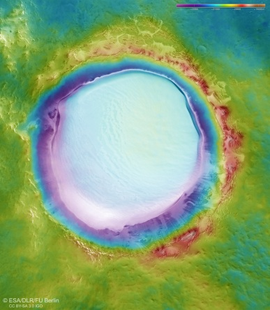 Topography of ice-filled Korolev crater, northern lowlands of Mars, April 4, 2018 / ESA, DLR, FU Berlin / Click for more.