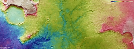 Topographic view of dried-out river valley network on Mars taken by Mars Express Orbiter, November 19, 2018 / ESA,DLR, FU Berlin / Click for more.