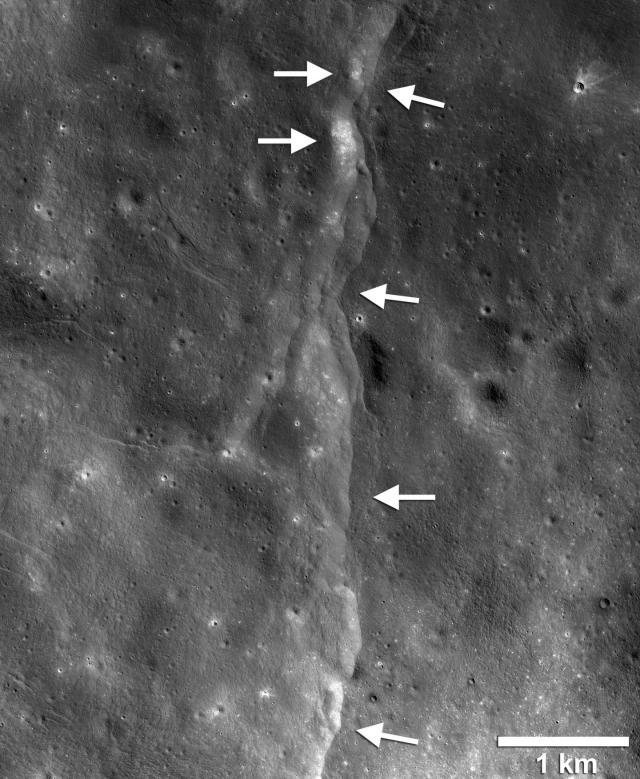 Lunar fault formed on Moon's crust as interior cooled and shrank / Lunar Reconnaissance Orbiter (LRO), NASA, GSFC, Arizona State U., Smithsonian