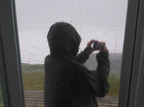 Gini shooting video during lull in storm, Kingsburg, NS, 4:30 p.m., Saturday 9/17/19