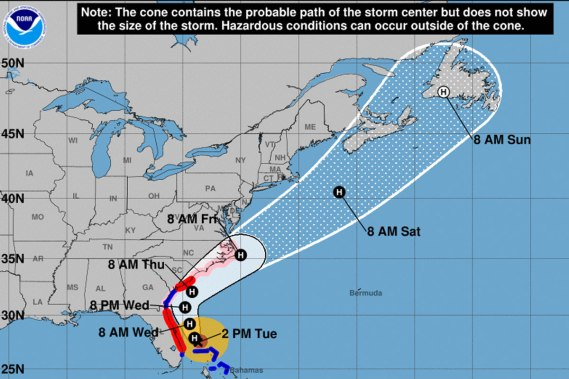 Hurricane Dorian's projected path, Tuesday 9/3/19 / NOAA, National Hurricane Center