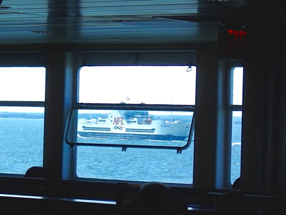 MV Confederation heading to Caribou, NS, seen from MV Holiday Island heading to Wood Islands, PEI, Northumberland Strait, Tuesday 9/10/19