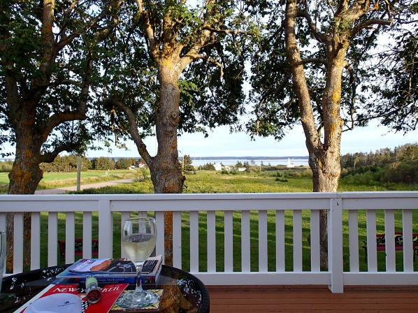 Beach House Inn porch facing New London Bay and Lighthouse, French River, PEI, Tuesday 9/10/19
