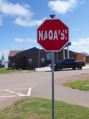 Stop sign in Mi'kmaq, Lennox Island, Thursday 9/12/19