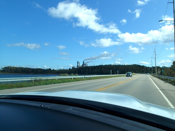 Northern Pulp Mill  seem from highway crossing Pictou Harbour, NS, Friday 9/13/19