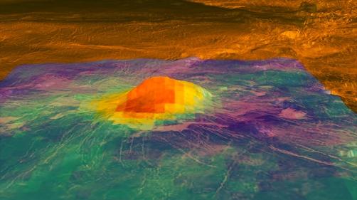 Heat-pattern image of Idunn Mons, volcanic peak on Venus / ESA Venus Express spacecraft / ESA, NASA, USRA / Click for more.