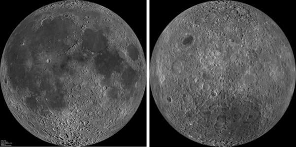 Near side (left) and far side of moon / NASA / Click for more.
