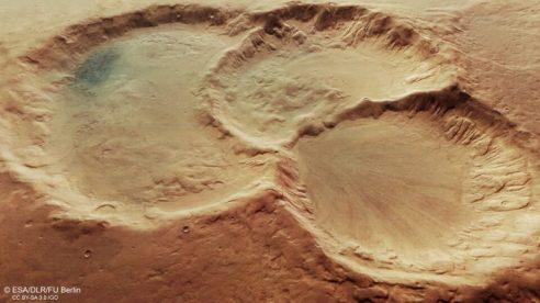 Triple-Impact Craters, Mars,  Aug 6, 2020 / ESA, EarthSky / Click for more.